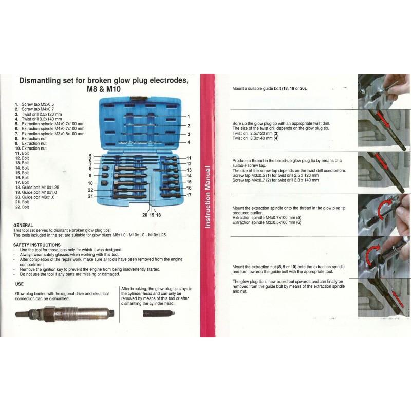 Kit extracteur électrodes (crayon) de la bougie de préchauffage cassé M8 M10