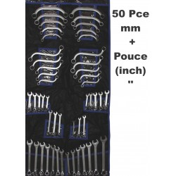 50 Clés plates et courbées à Oeil 12 pans Métrique et INCH