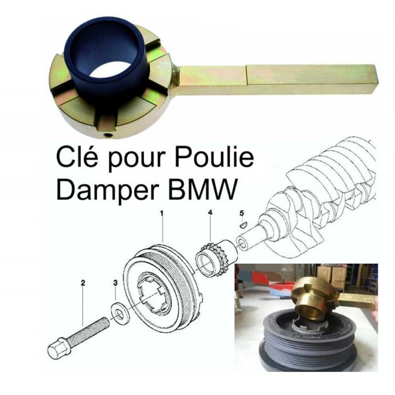 Clé outil de blocage pour les poulies Damper BMW