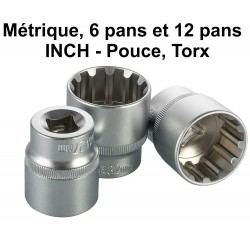 """Douilles universel 8 - 32 mm 1/2 """" torx , inch, 6 - 12 pans"""