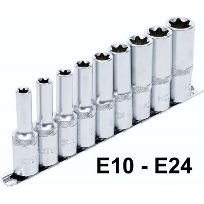 "Douilles E10 à E24  profil E  1/2""  longue 80mm"