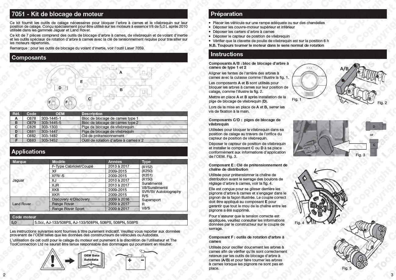 kit outil pige Calage Jaguar, Range, Land Rover 5,0L V8 X150-XK X250-XF X351-XJ OEM 303-1445 303-1447 303-1452 303-1482